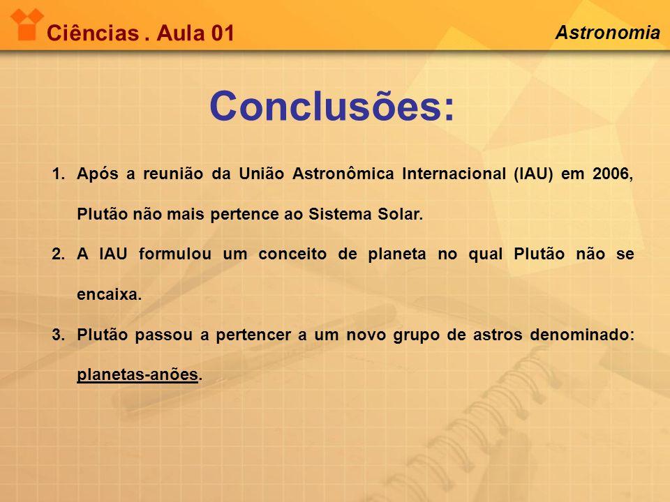 Conclusões: Ciências . Aula 01 Astronomia
