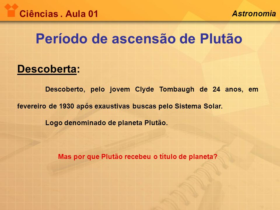 Período de ascensão de Plutão Descoberta: