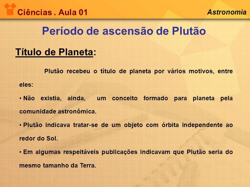 Período de ascensão de Plutão Título de Planeta: