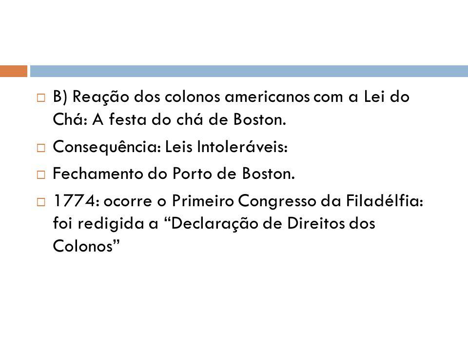 B) Reação dos colonos americanos com a Lei do Chá: A festa do chá de Boston.