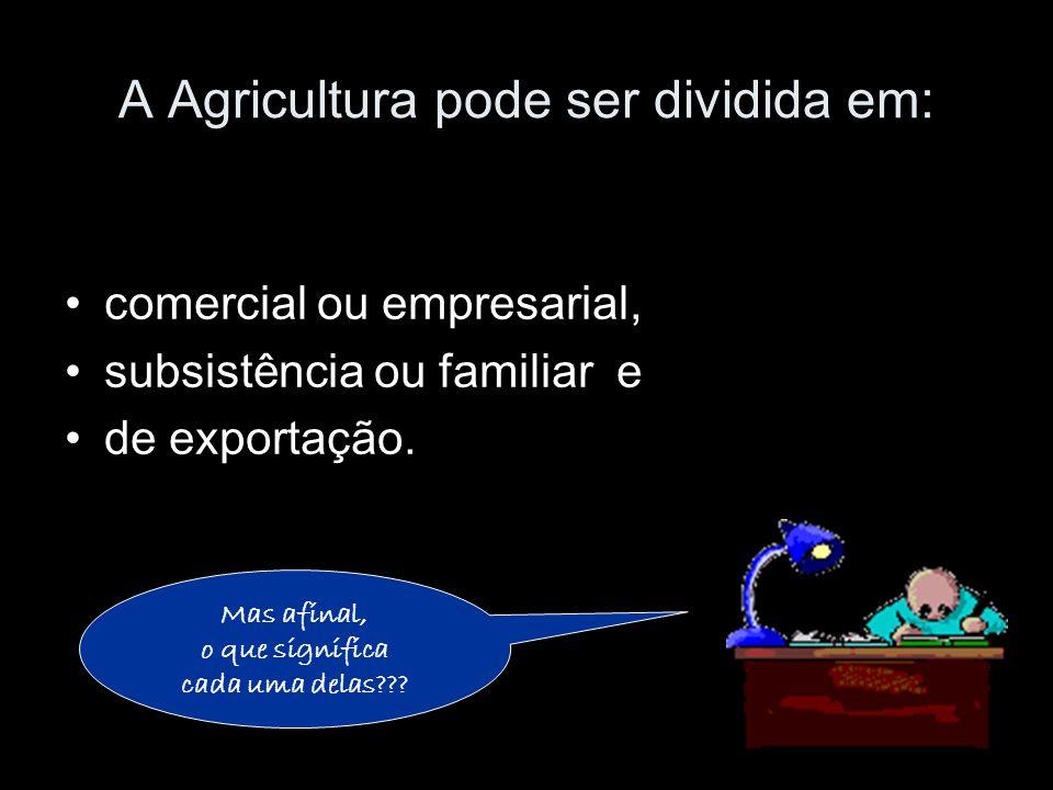 A Agricultura pode ser dividida em: