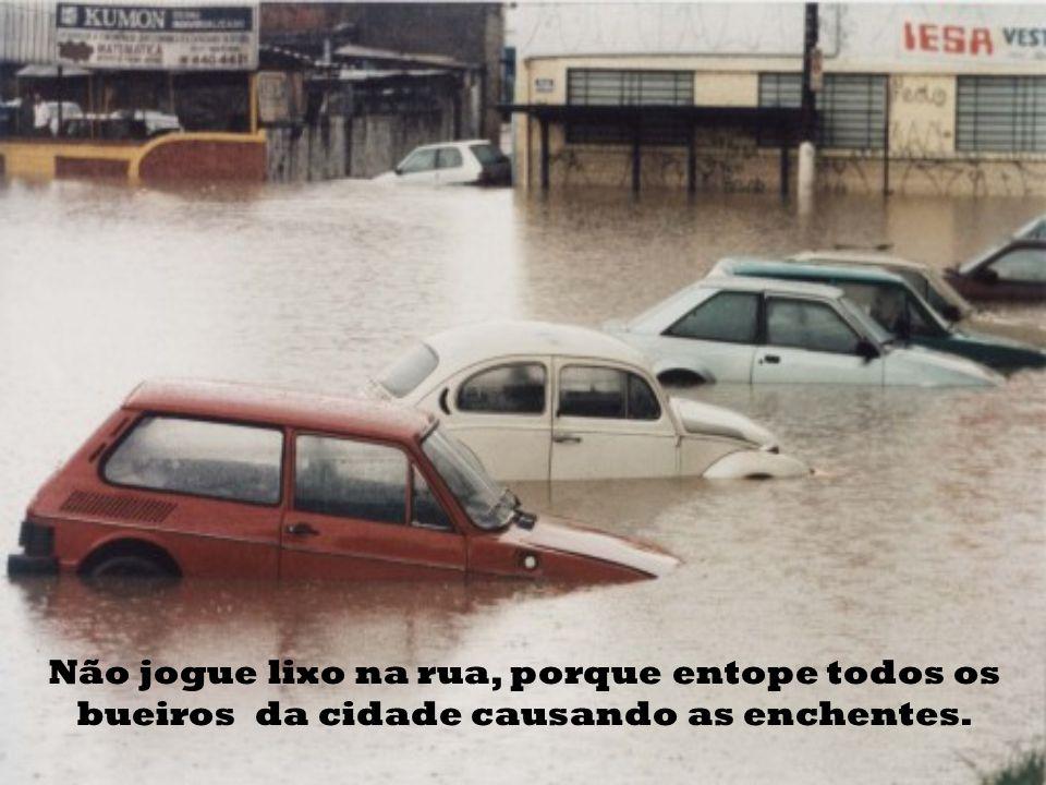 Não jogue lixo na rua, porque entope todos os bueiros da cidade causando as enchentes.