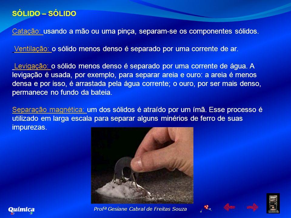 SÓLIDO – SÓLIDOCatação: usando a mão ou uma pinça, separam-se os componentes sólidos.