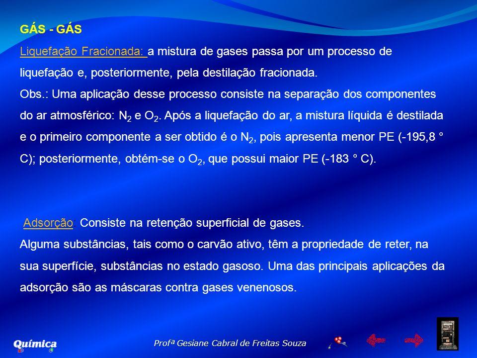 GÁS - GÁSLiquefação Fracionada: a mistura de gases passa por um processo de liquefação e, posteriormente, pela destilação fracionada.