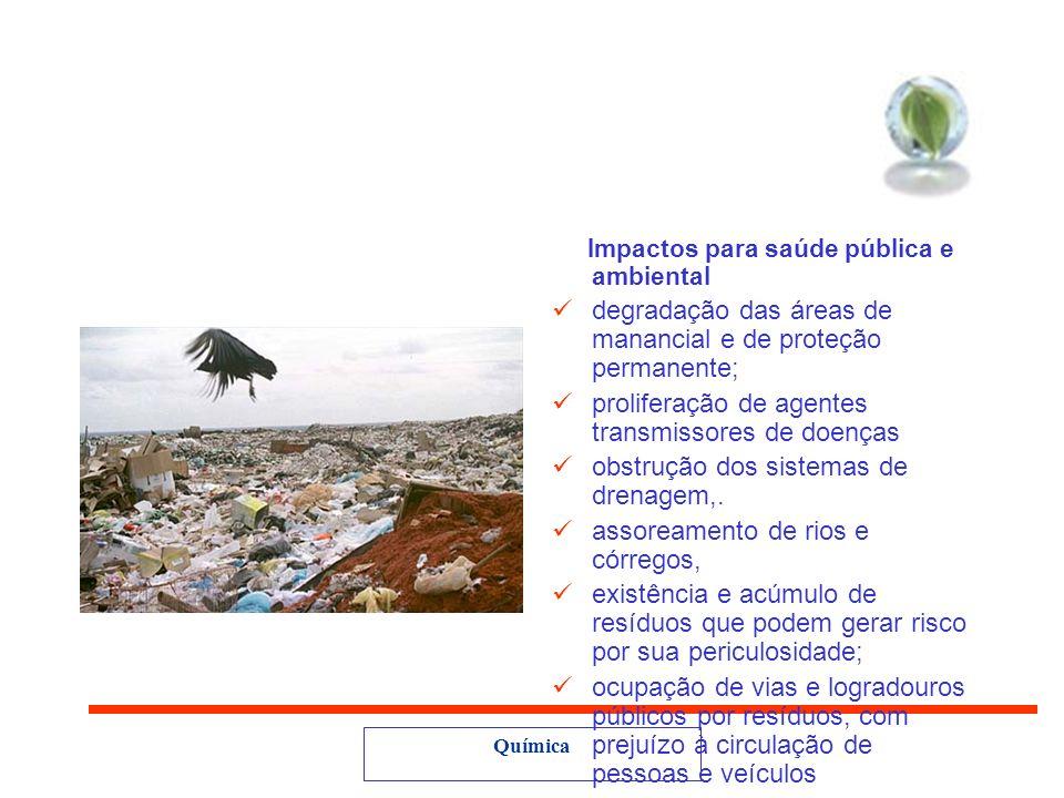 degradação das áreas de manancial e de proteção permanente;