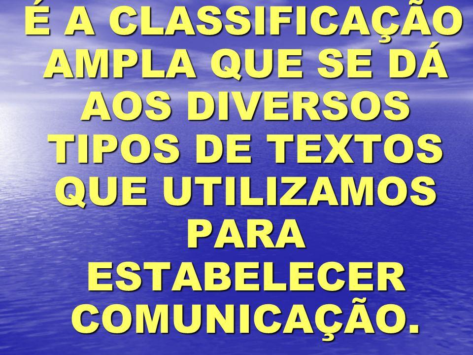 É A CLASSIFICAÇÃO AMPLA QUE SE DÁ AOS DIVERSOS TIPOS DE TEXTOS QUE UTILIZAMOS PARA ESTABELECER COMUNICAÇÃO.