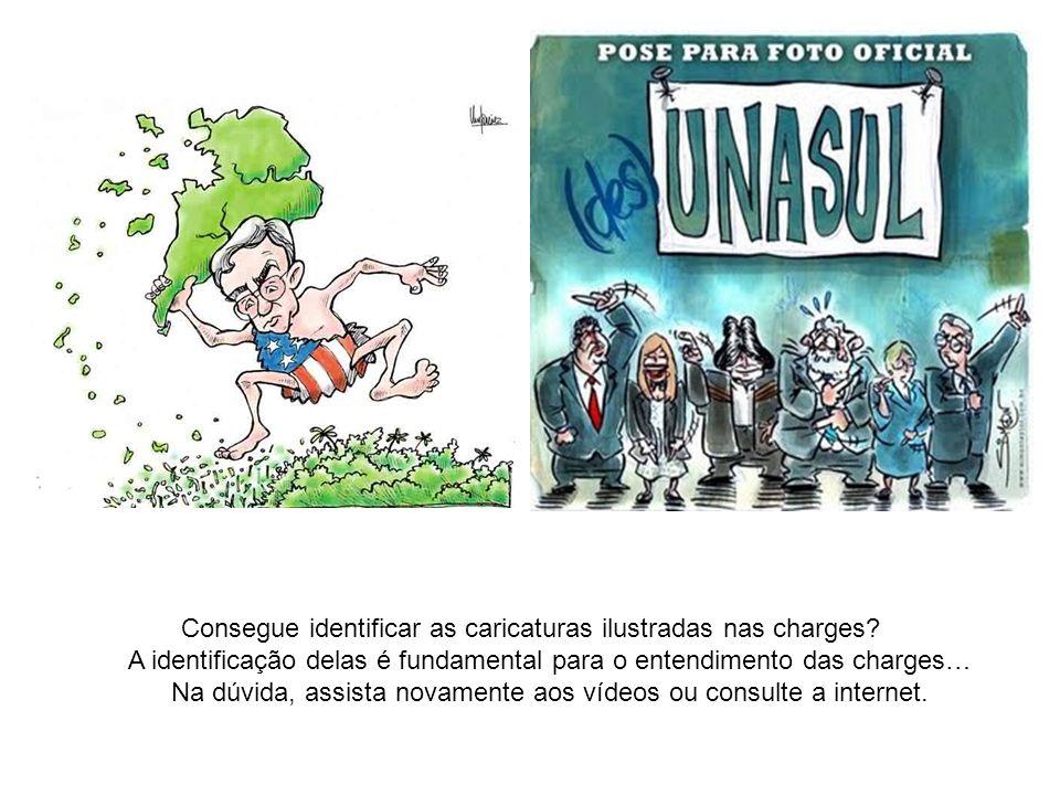 Consegue identificar as caricaturas ilustradas nas charges