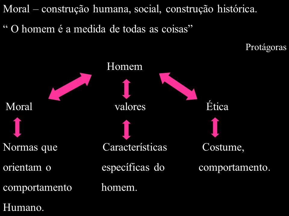 Moral – construção humana, social, construção histórica.