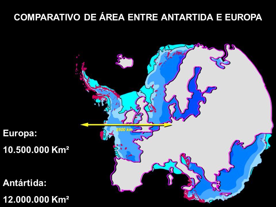 COMPARATIVO DE ÁREA ENTRE ANTARTIDA E EUROPA