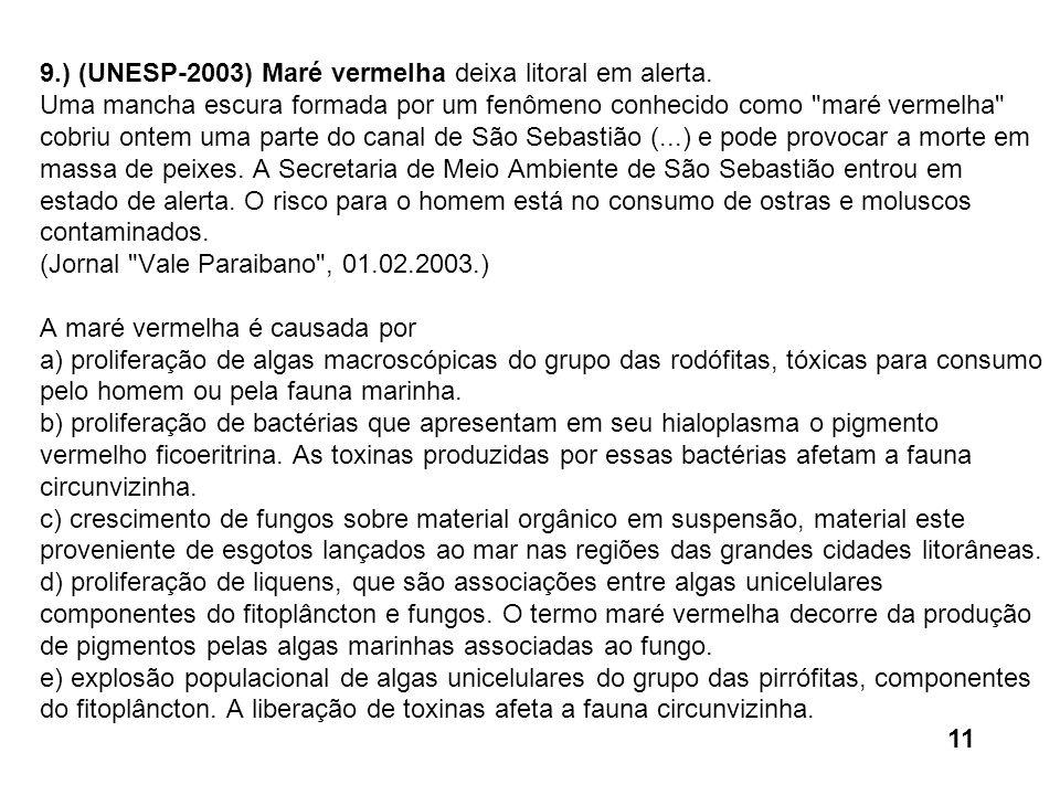 9. ) (UNESP-2003) Maré vermelha deixa litoral em alerta