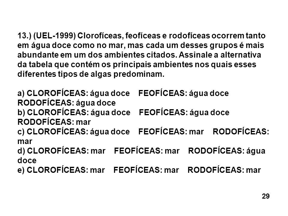 13.) (UEL-1999) Clorofíceas, feofíceas e rodofíceas ocorrem tanto em água doce como no mar, mas cada um desses grupos é mais abundante em um dos ambientes citados. Assinale a alternativa da tabela que contém os principais ambientes nos quais esses diferentes tipos de algas predominam. a) CLOROFÍCEAS: água doce FEOFÍCEAS: água doce RODOFÍCEAS: água doce b) CLOROFÍCEAS: água doce FEOFÍCEAS: água doce RODOFÍCEAS: mar c) CLOROFÍCEAS: água doce FEOFÍCEAS: mar RODOFÍCEAS: mar d) CLOROFÍCEAS: mar FEOFÍCEAS: mar RODOFÍCEAS: água doce e) CLOROFÍCEAS: mar FEOFÍCEAS: mar RODOFÍCEAS: mar