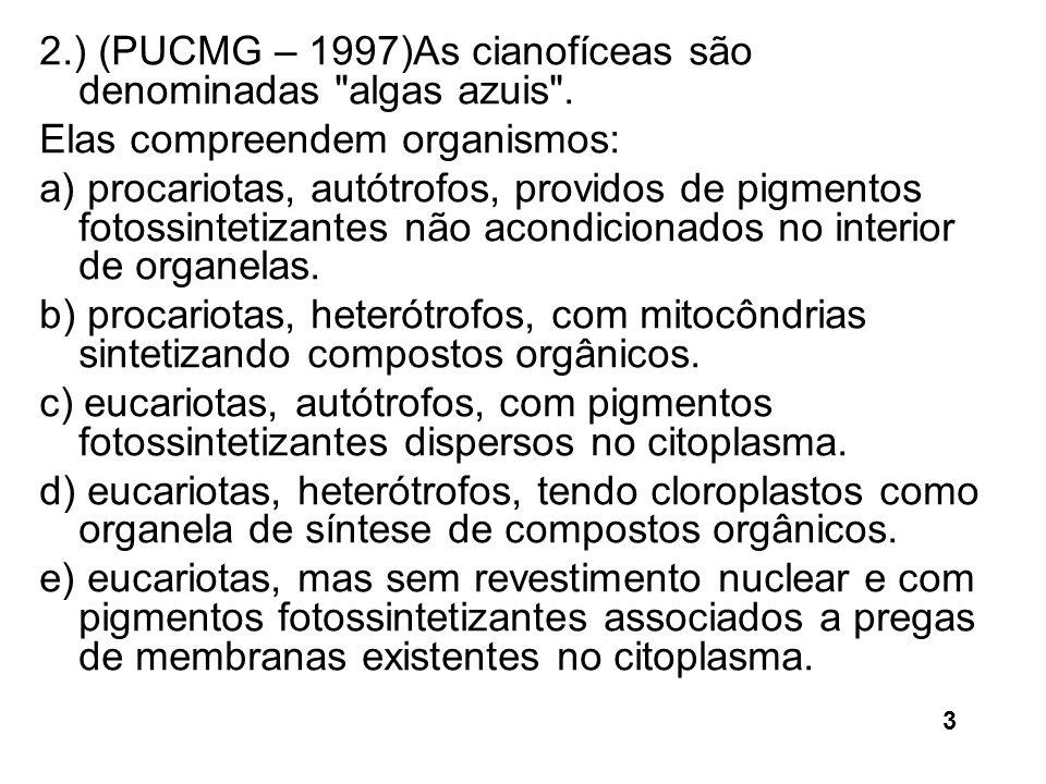 2.) (PUCMG – 1997)As cianofíceas são denominadas algas azuis .