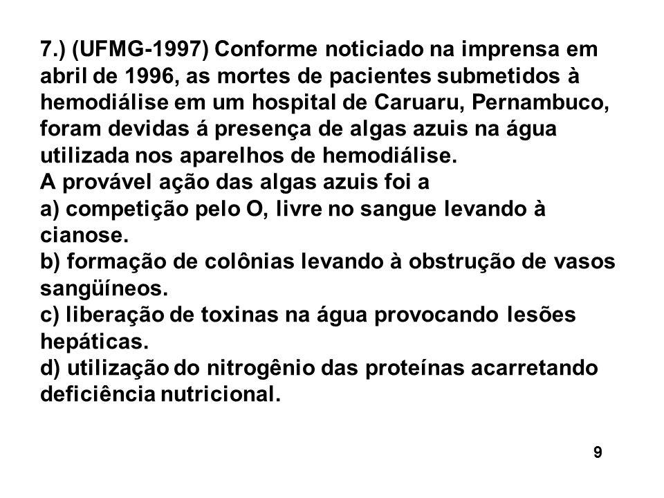 7.) (UFMG-1997) Conforme noticiado na imprensa em abril de 1996, as mortes de pacientes submetidos à hemodiálise em um hospital de Caruaru, Pernambuco, foram devidas á presença de algas azuis na água utilizada nos aparelhos de hemodiálise. A provável ação das algas azuis foi a a) competição pelo O' livre no sangue levando à cianose. b) formação de colônias levando à obstrução de vasos sangüíneos. c) liberação de toxinas na água provocando lesões hepáticas. d) utilização do nitrogênio das proteínas acarretando deficiência nutricional.