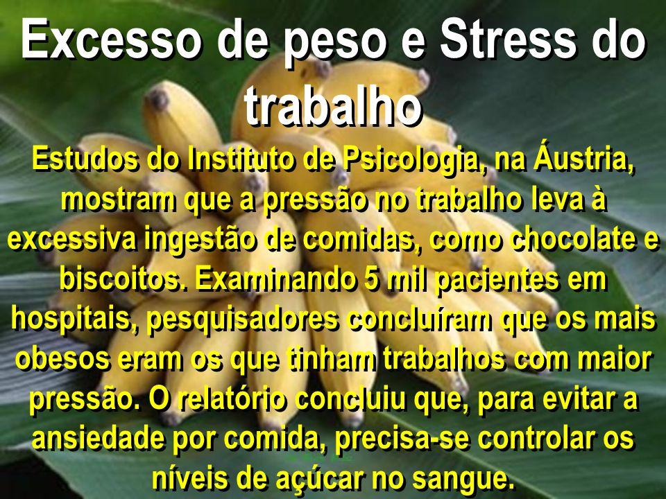 Excesso de peso e Stress do trabalho Estudos do Instituto de Psicologia, na Áustria, mostram que a pressão no trabalho leva à excessiva ingestão de comidas, como chocolate e biscoitos.