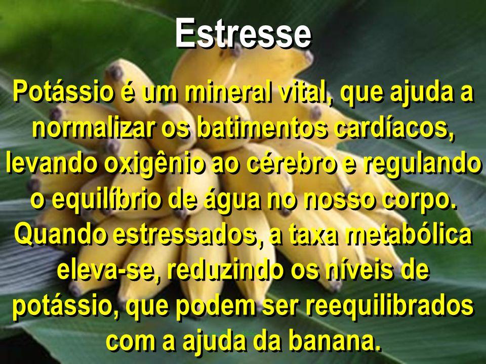 Estresse Potássio é um mineral vital, que ajuda a normalizar os batimentos cardíacos, levando oxigênio ao cérebro e regulando o equilíbrio de água no nosso corpo.