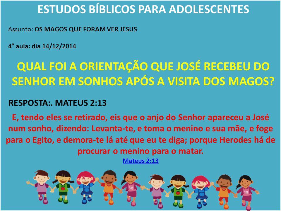 ESTUDOS BÍBLICOS PARA ADOLESCENTES