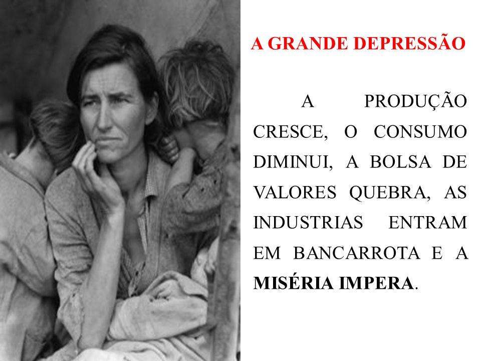 A GRANDE DEPRESSÃO A PRODUÇÃO CRESCE, O CONSUMO DIMINUI, A BOLSA DE VALORES QUEBRA, AS INDUSTRIAS ENTRAM EM BANCARROTA E A MISÉRIA IMPERA.