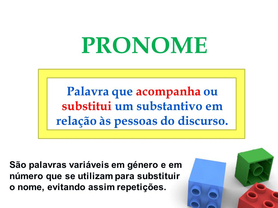 PRONOME Palavra que acompanha ou substitui um substantivo em relação às pessoas do discurso.