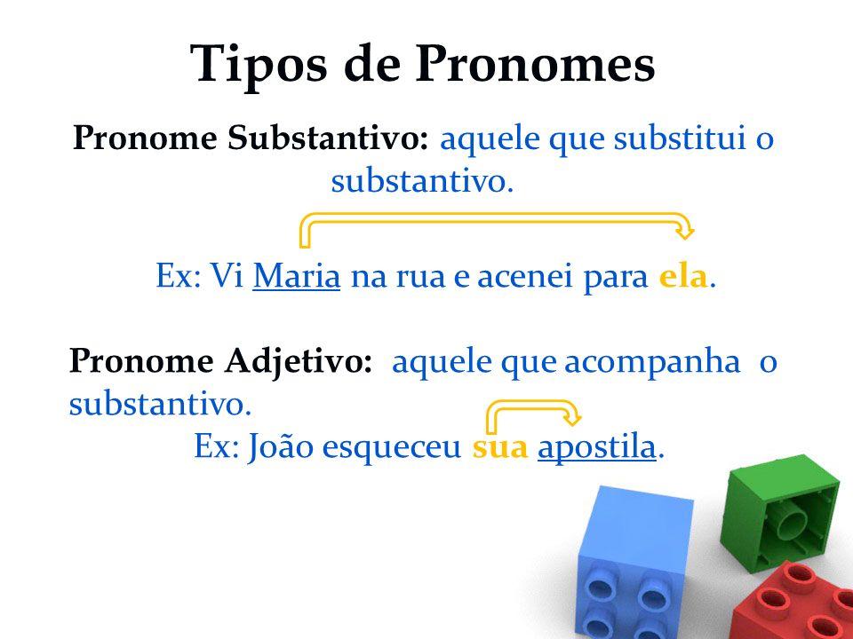 Tipos de Pronomes Pronome Substantivo: aquele que substitui o substantivo. Ex: Vi Maria na rua e acenei para ela.