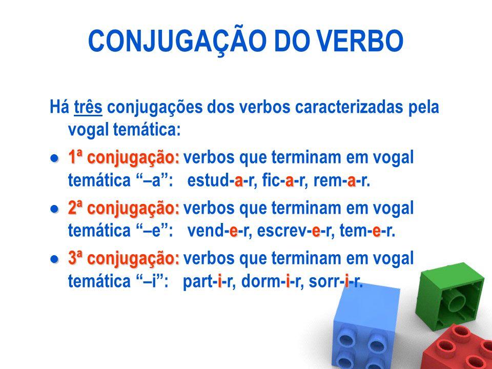 CONJUGAÇÃO DO VERBO Há três conjugações dos verbos caracterizadas pela vogal temática: