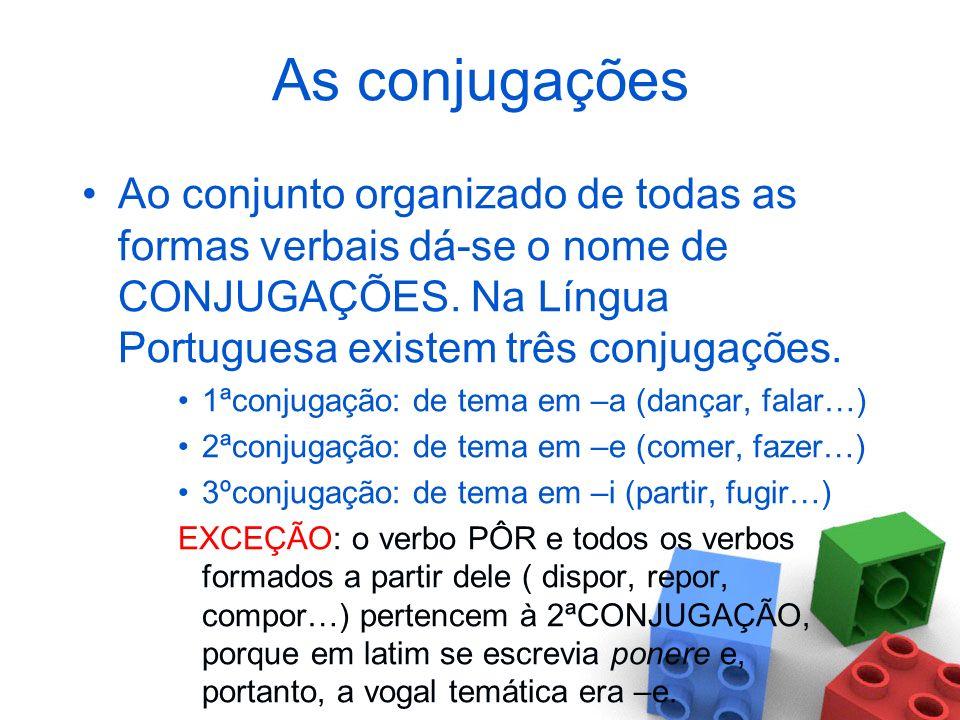 As conjugações Ao conjunto organizado de todas as formas verbais dá-se o nome de CONJUGAÇÕES. Na Língua Portuguesa existem três conjugações.