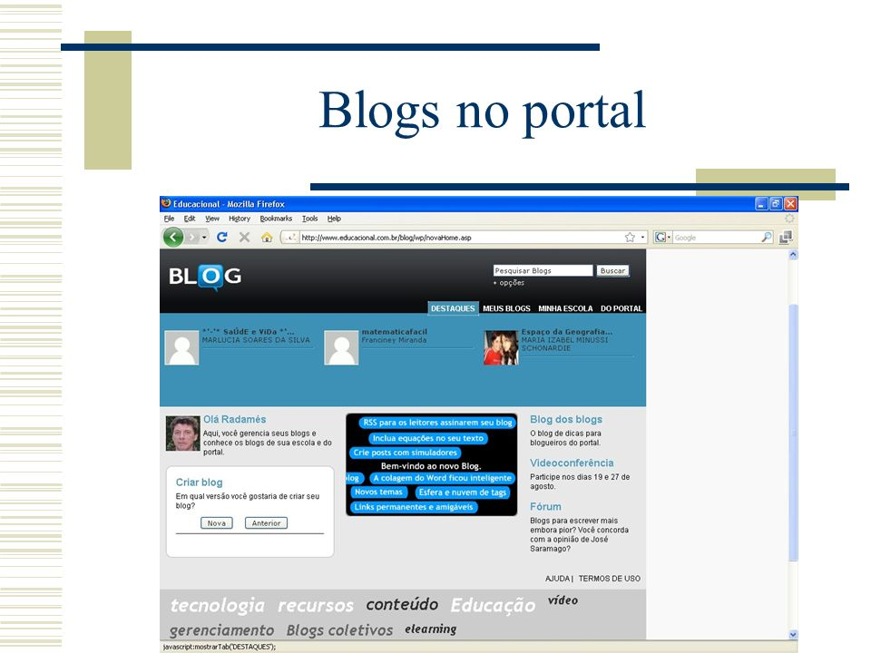 Blogs no portal