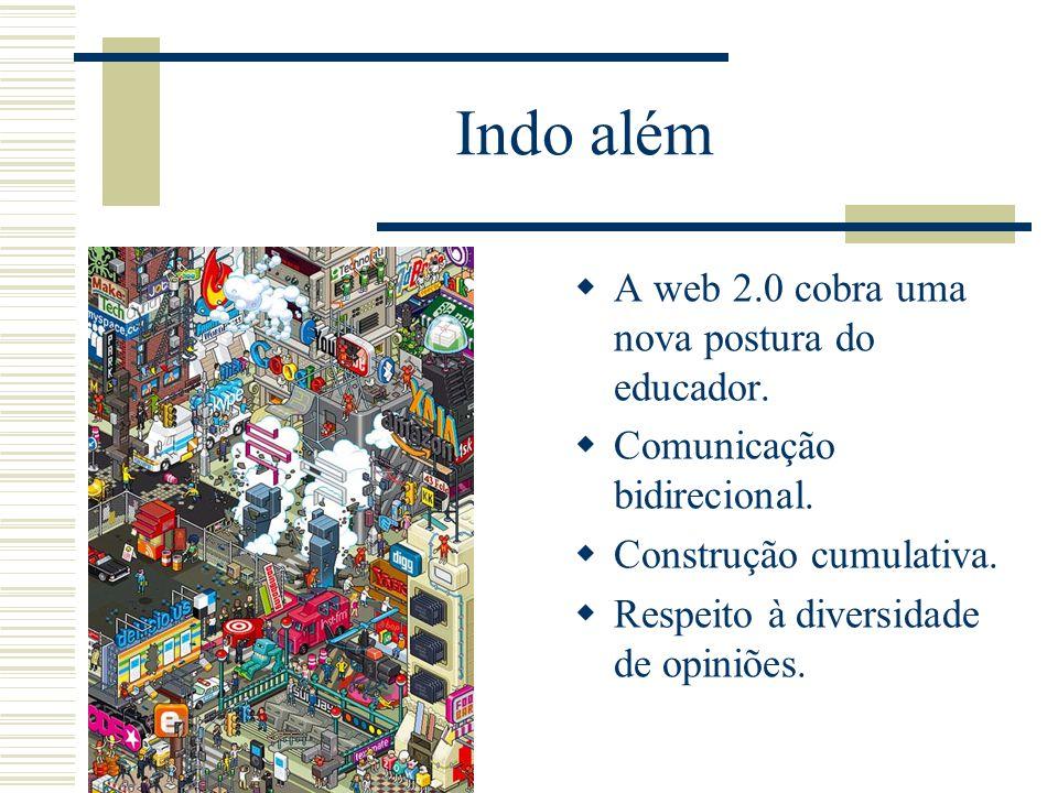 Indo além A web 2.0 cobra uma nova postura do educador.