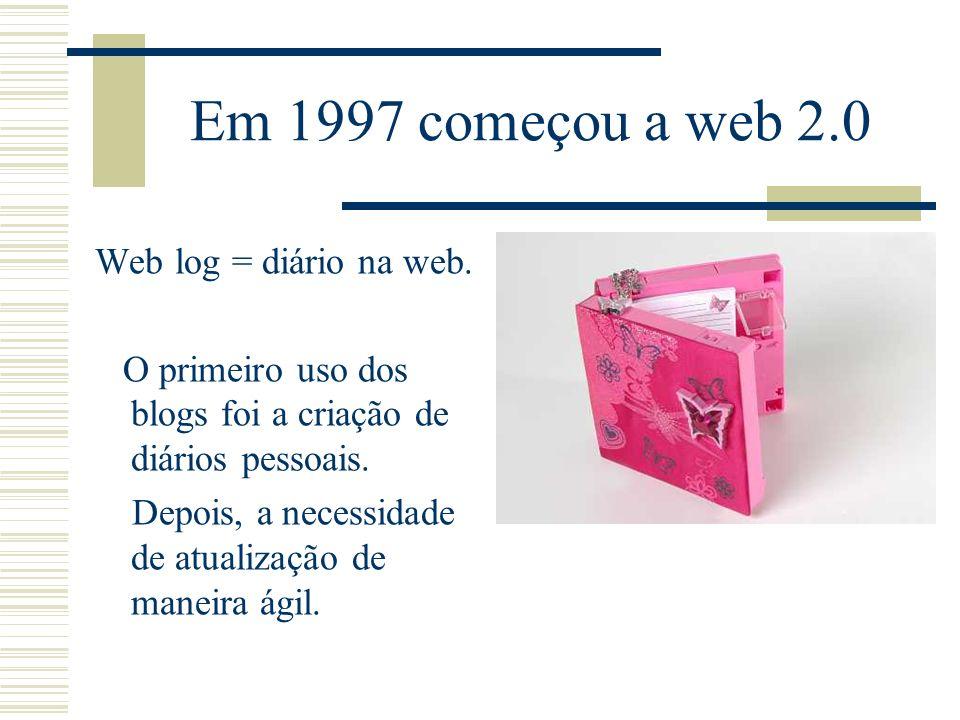 Em 1997 começou a web 2.0 Web log = diário na web.