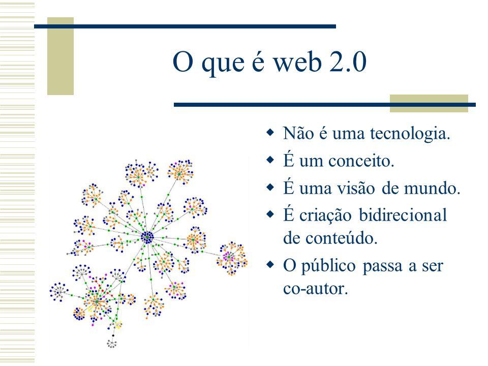 O que é web 2.0 Não é uma tecnologia. É um conceito.