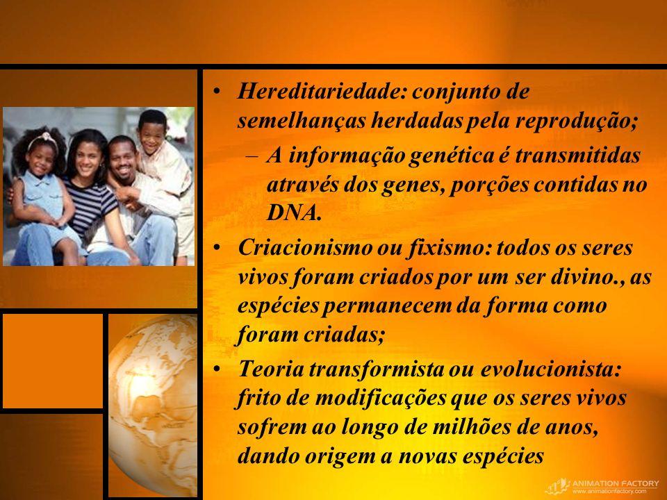 Hereditariedade: conjunto de semelhanças herdadas pela reprodução;