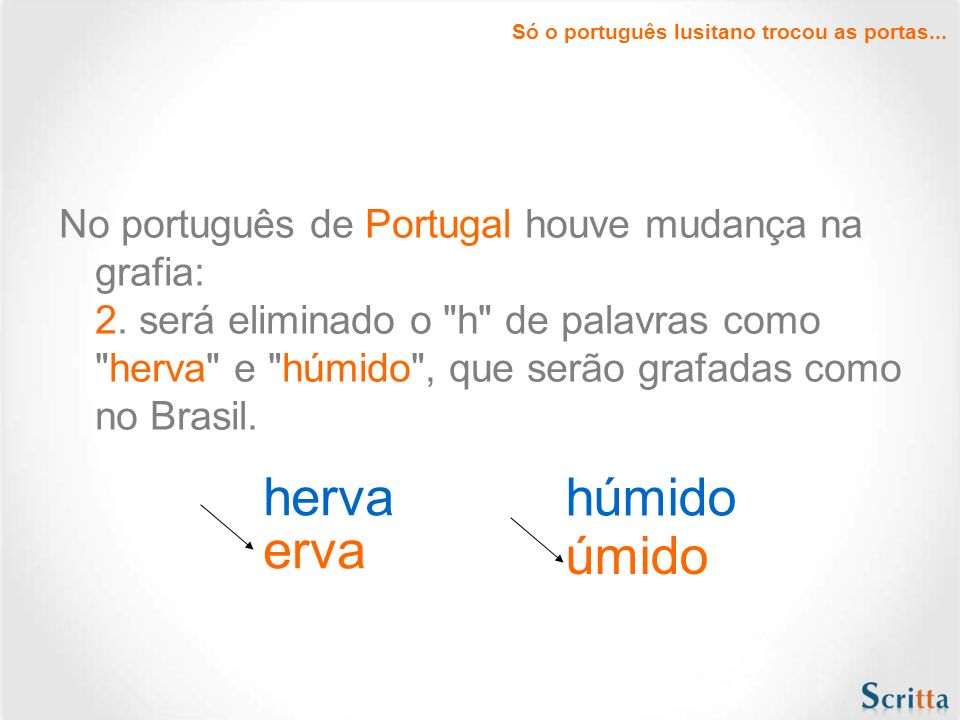 Só o português lusitano trocou as portas...