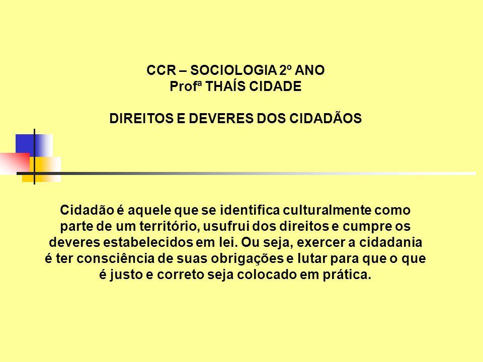 DIREITOS E DEVERES DOS CIDADÃOS