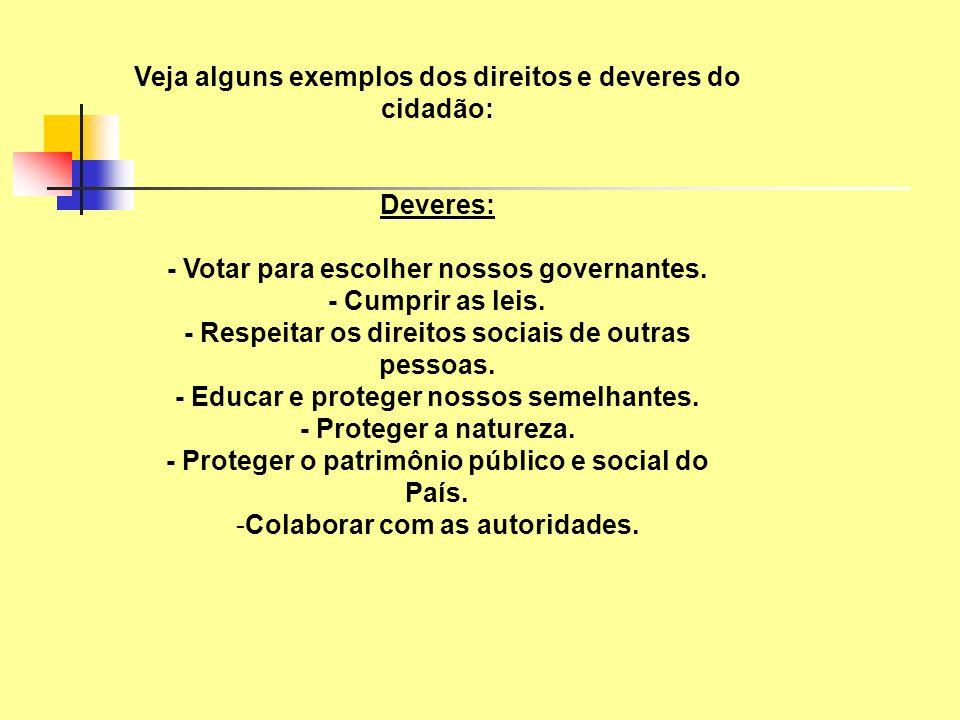 Veja alguns exemplos dos direitos e deveres do cidadão: