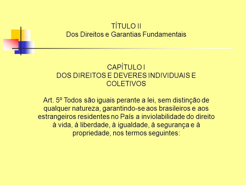 TÍTULO II Dos Direitos e Garantias Fundamentais