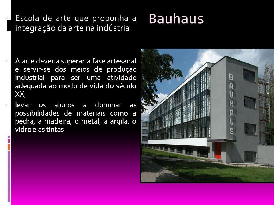 Bauhaus Escola de arte que propunha a integração da arte na indústria