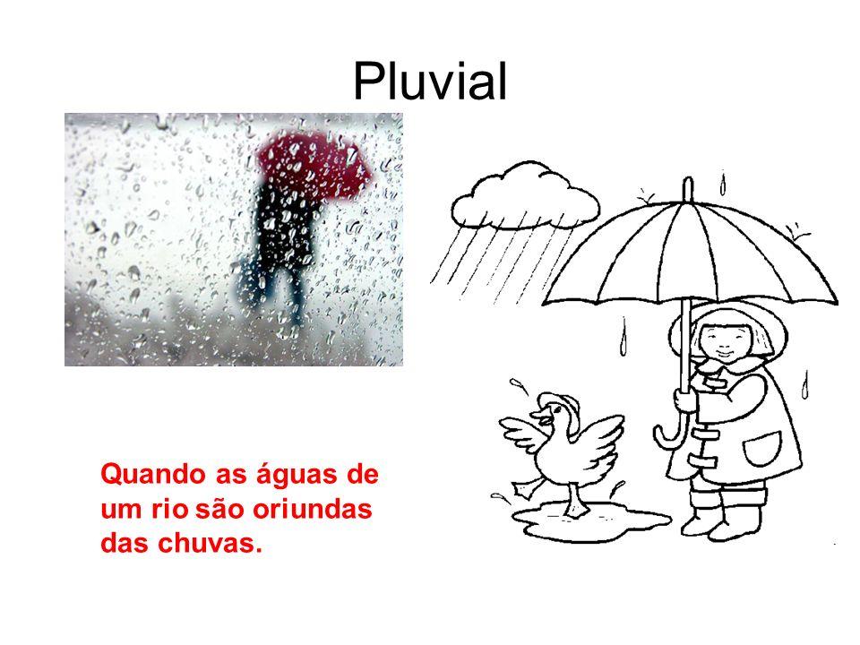 Pluvial Quando as águas de um rio são oriundas das chuvas.