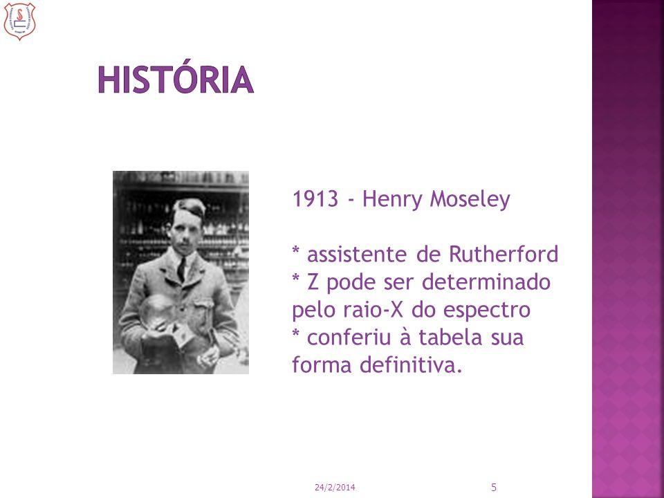 História 1913 - Henry Moseley * assistente de Rutherford