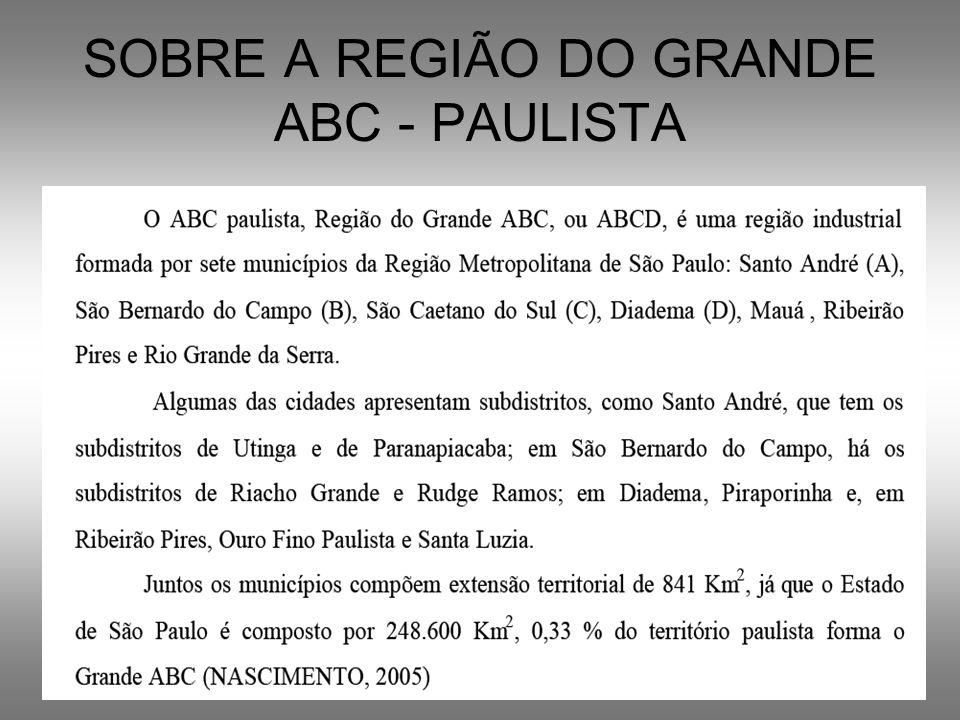 SOBRE A REGIÃO DO GRANDE ABC - PAULISTA
