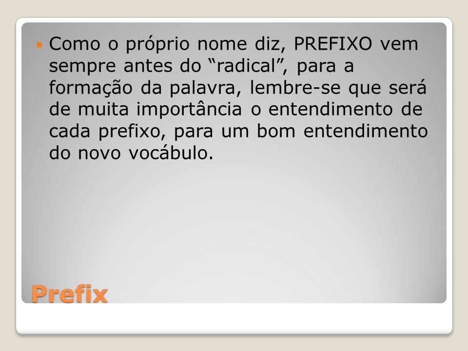 Como o próprio nome diz, PREFIXO vem sempre antes do radical , para a formação da palavra, lembre-se que será de muita importância o entendimento de cada prefixo, para um bom entendimento do novo vocábulo.