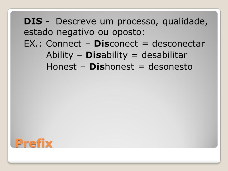 DIS - Descreve um processo, qualidade, estado negativo ou oposto: EX