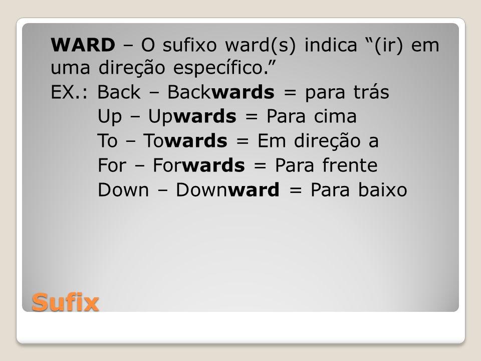 WARD – O sufixo ward(s) indica (ir) em uma direção específico. EX