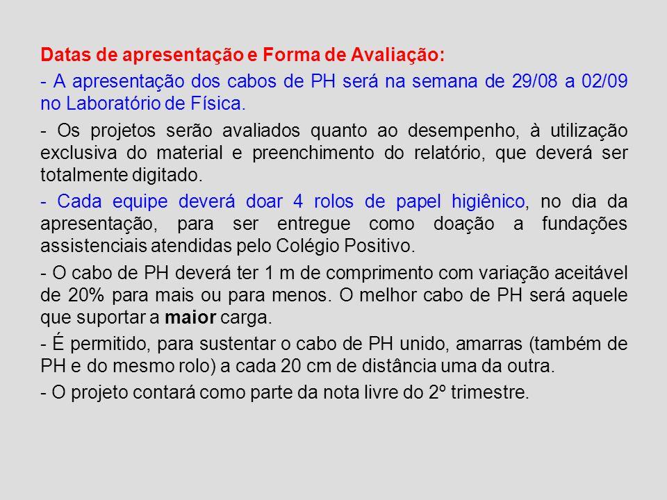 Datas de apresentação e Forma de Avaliação: - A apresentação dos cabos de PH será na semana de 29/08 a 02/09 no Laboratório de Física.
