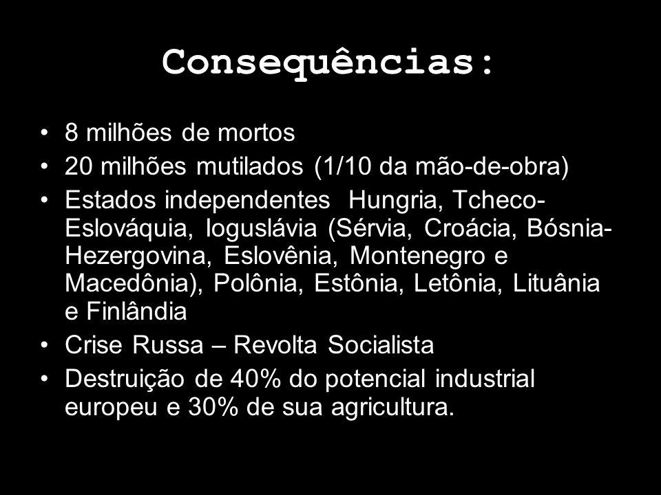 Consequências: 8 milhões de mortos
