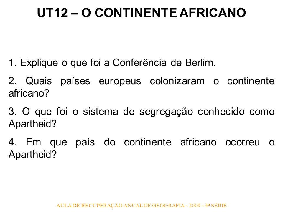 UT12 – O CONTINENTE AFRICANO