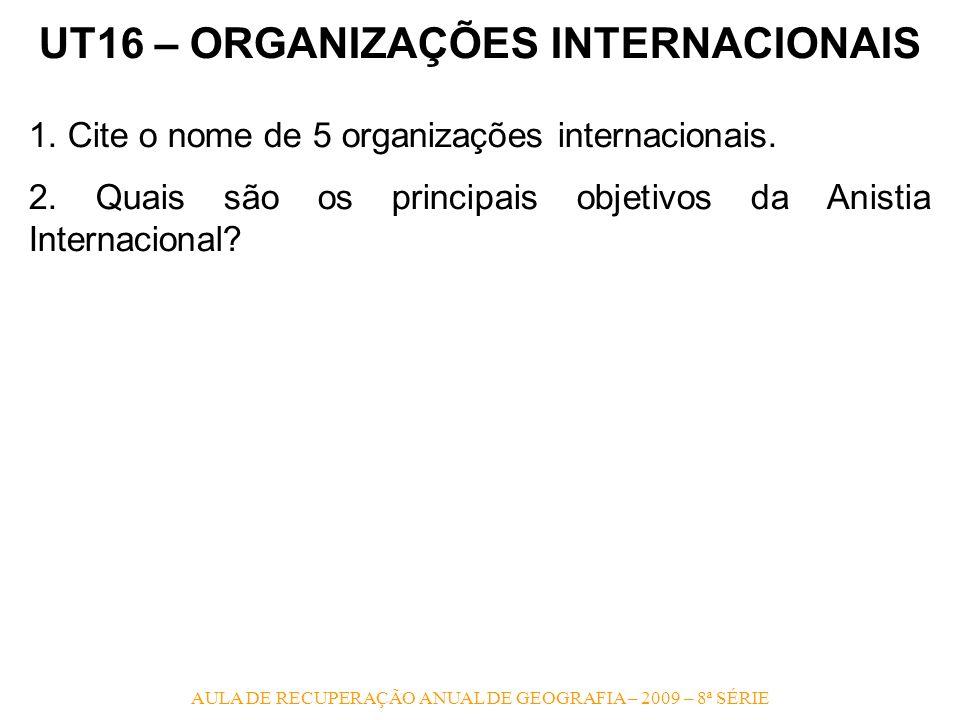 UT16 – ORGANIZAÇÕES INTERNACIONAIS
