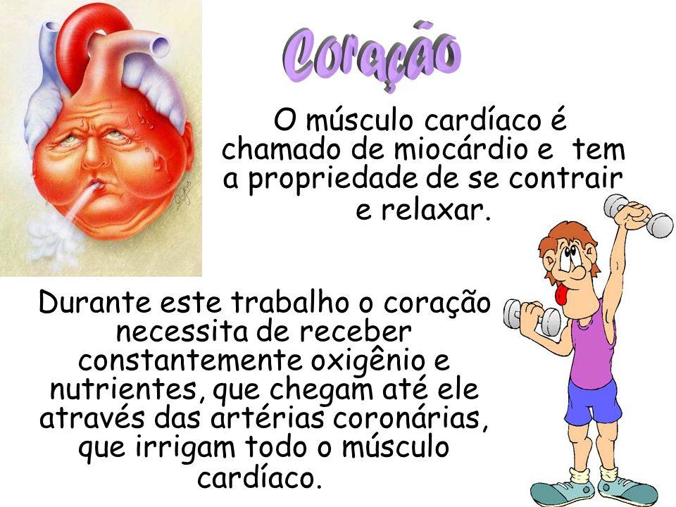 Coração O músculo cardíaco é chamado de miocárdio e tem a propriedade de se contrair e relaxar.