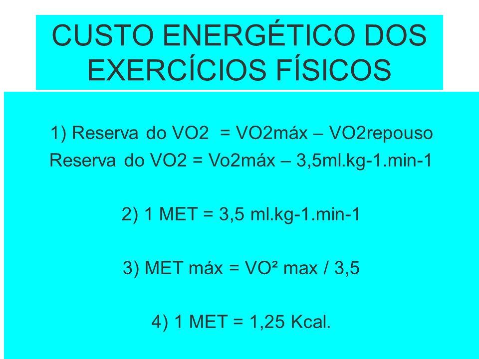 CUSTO ENERGÉTICO DOS EXERCÍCIOS FÍSICOS