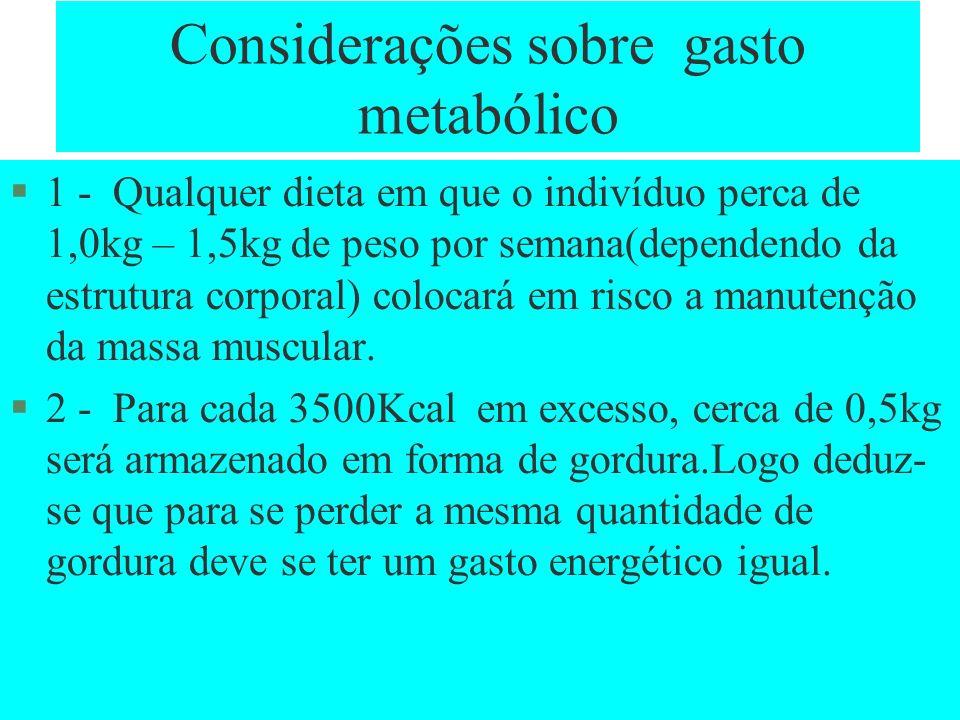 Considerações sobre gasto metabólico