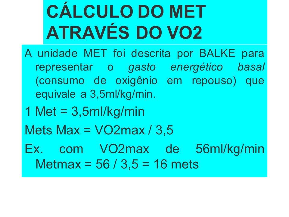 CÁLCULO DO MET ATRAVÉS DO VO2