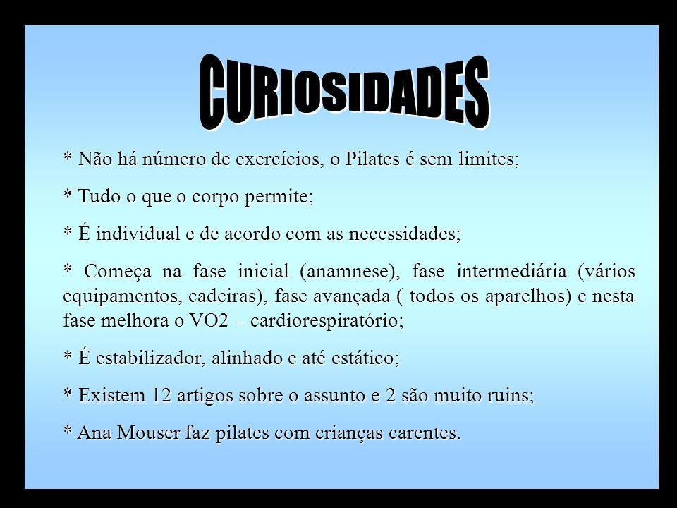 CURIOSIDADES * Não há número de exercícios, o Pilates é sem limites;